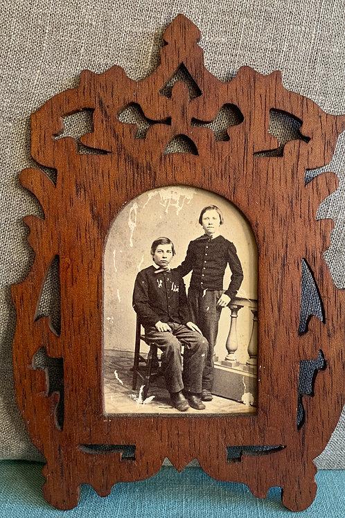 Folk Art Frame with Civil War Era CDV of 2 Brothers