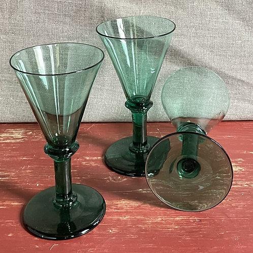 Set of Three Georgian Wine Glasses in Conical Shapee