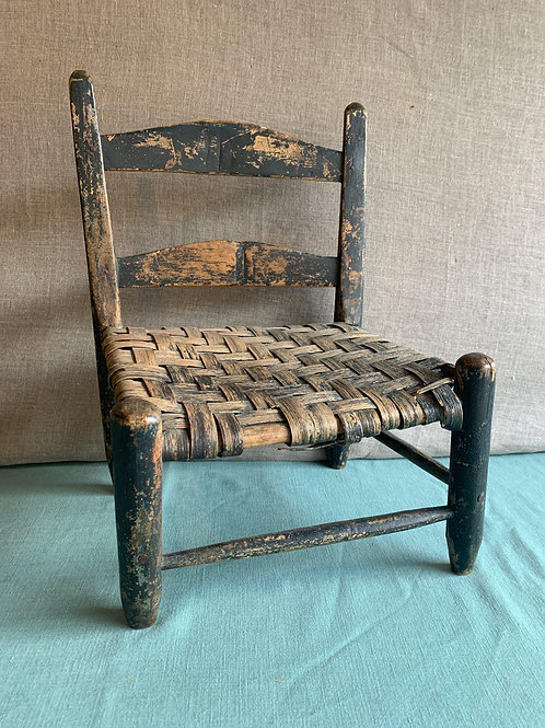 Primitive Child's Chair in Old Black paint