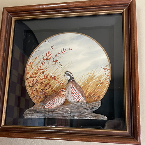 Carved Quail in Diorama By J.Q.Whipple