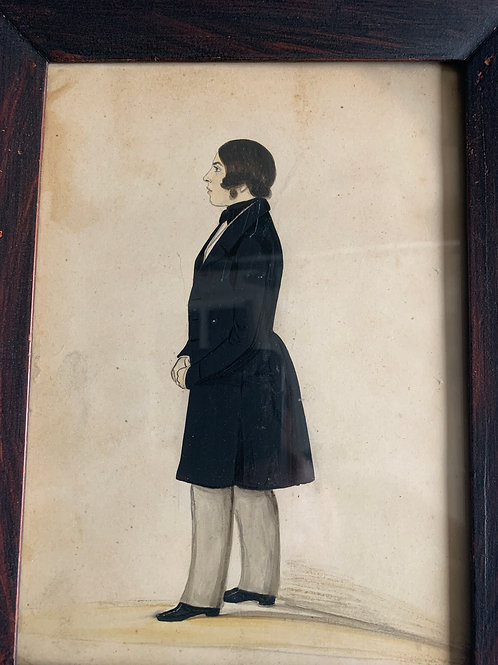 1840's Hand Painted Profile Painting - Gentleman