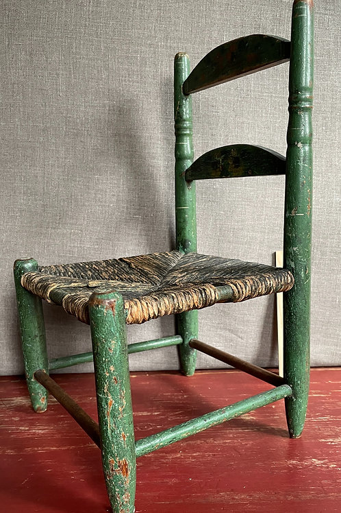 Antique Child/Doll Chair in Old Green Paint