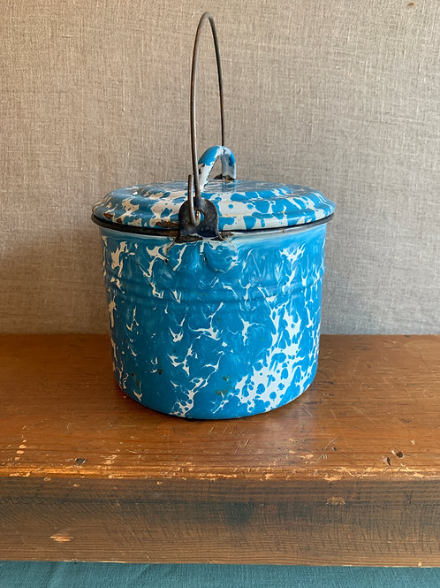 Blue and White  Graniteware Pail with Lid