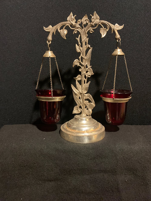 Rare Double Float Lamp w/ Red Shades