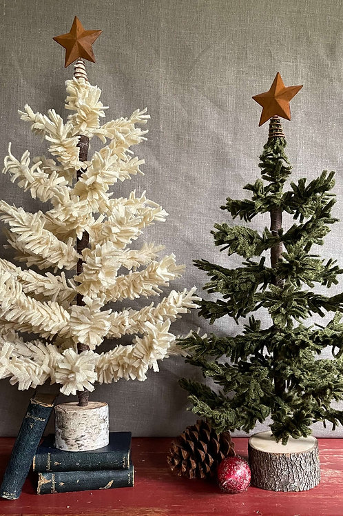 """18"""" Wool Tree in White Sparkle"""