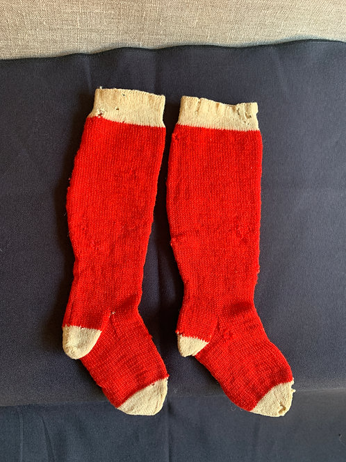 Victorian Childs Red Wool Socks
