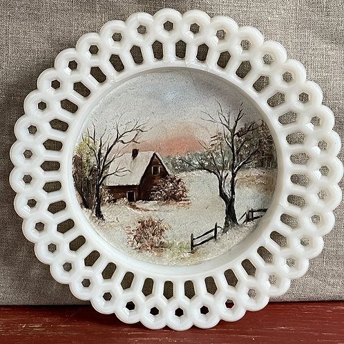 Milk Glass Plate with Folk Painted Winter Scene