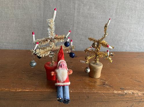 Vintage Miniature Feather trees and Santa