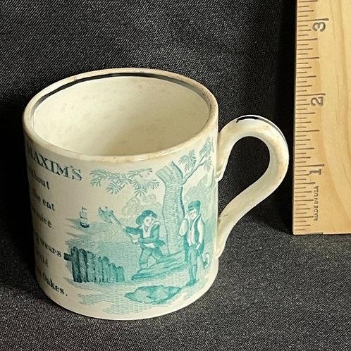 19TH C Staffordshire Child's Mug Franklin's Maxim