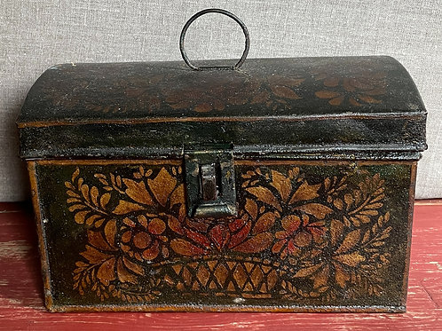 19th C Tole Painted Document Tin Box