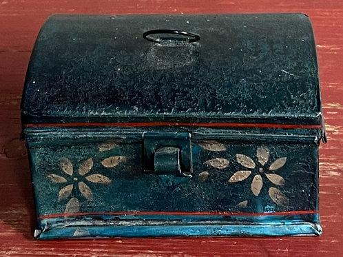 Rare Miniature Tole Decorated Tin Box