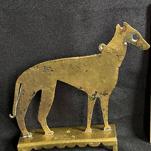 19th C English Brass Dog Figure