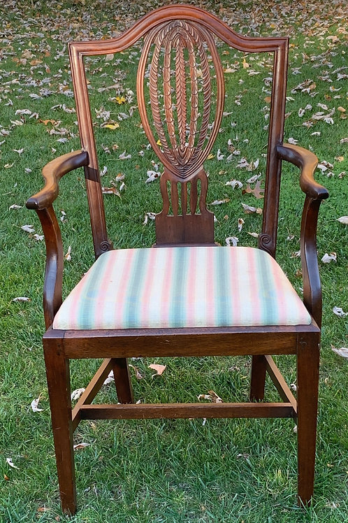 Period Sheraton Arm Chair with Carved Back
