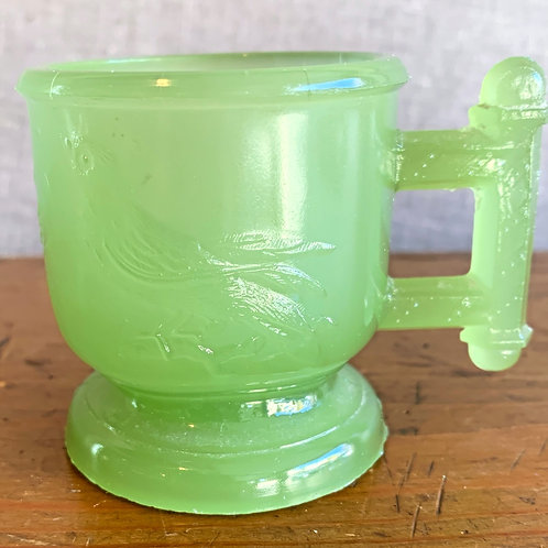 Victorian Child's Mug with Birds Unusual Green Color