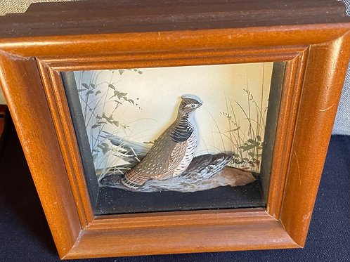 Quail and Duck Carvings in Diorama By J.Q.Whipple