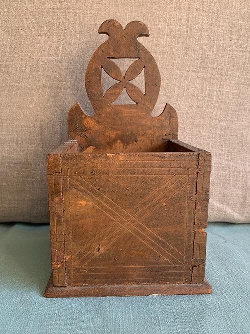 Folk Art Salt Box with Hex Design Vinegar Wash