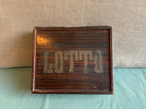 Antique Lotto game in decorated wooden box