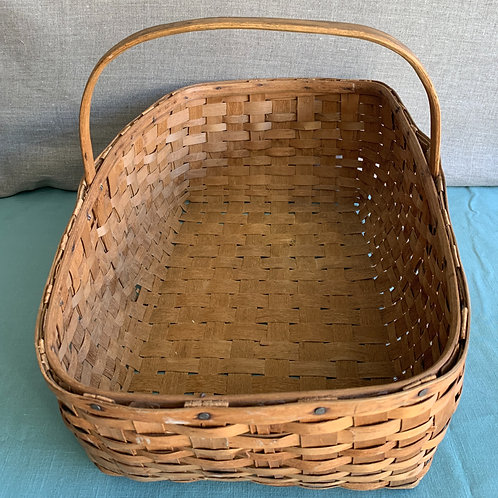 Large Ash Gathering Basket with Handle - Canadian