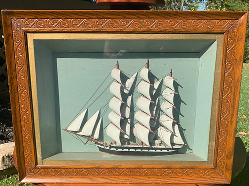 Cased Folk Art Ship Model Diorama