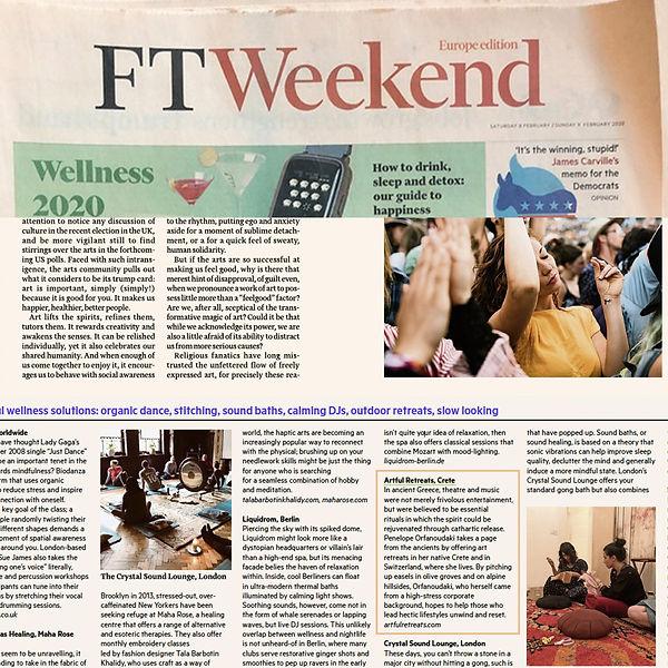 Financial Times cover Artful Retreats Fe