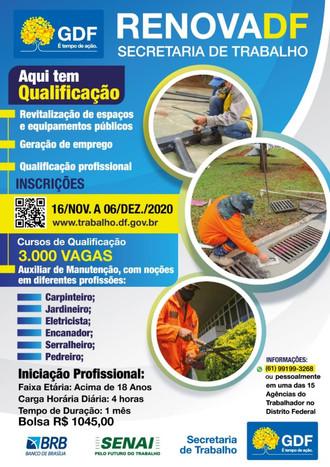 3 MIL VAGAS PARA AS ÁREAS DE CONSTRUÇÃO CIVIL E JARDINAGEM