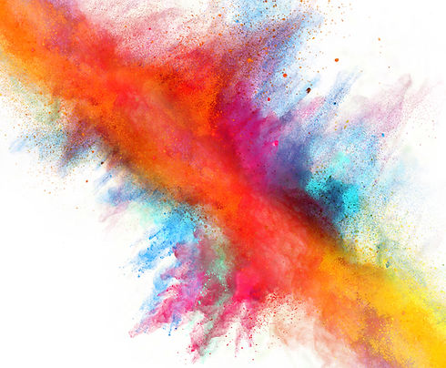 Launched colorful powder on white backgr