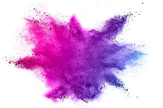 Explosion of colored powder on white bac
