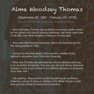 Alma Woodsey Thomas Bio: Black History Art Series By Angela Cashay