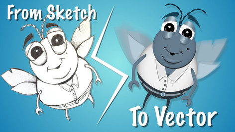 """Speed Vector Art : From A Sketch To Vector Art """"Bug"""""""