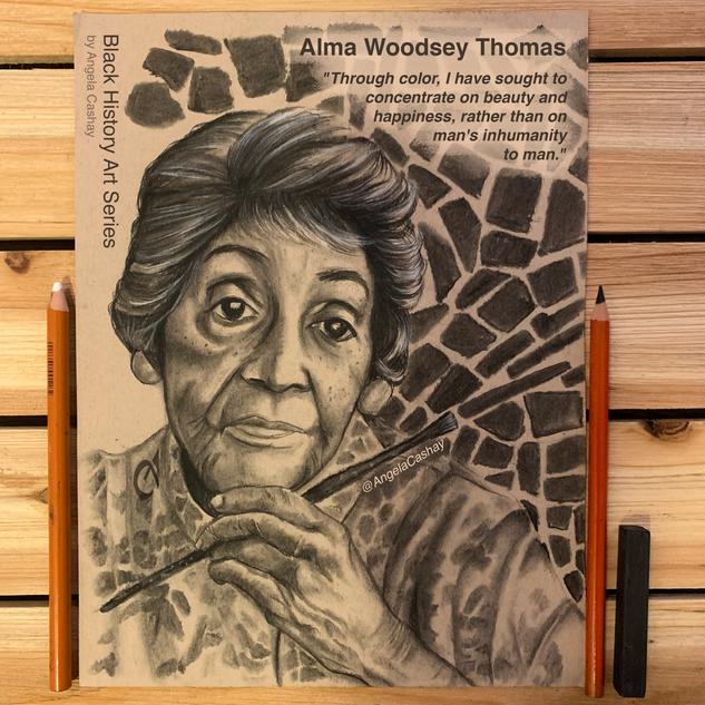 Alma Woodsey Thomas Charcoal Drawing_By Angela Cashay