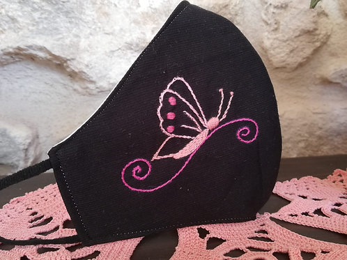 Mascherina Artigianale Farfalla Ricamata a Mano in cottone anallergico