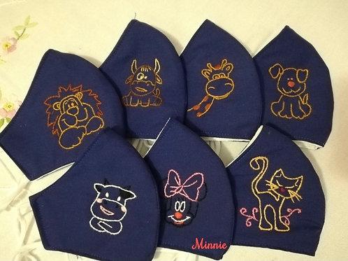 Mascherina Artigianale Bambini Minnie ricamata a Mano in cotone anallergico