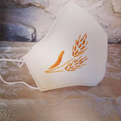 Mascherina Artigianale spiga chiara Ricamata a Mano in cottone anallergico