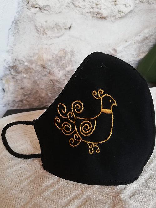 Mascherina Artigianale Pavoncella dorata ricamata a Mano in cottone anallergico