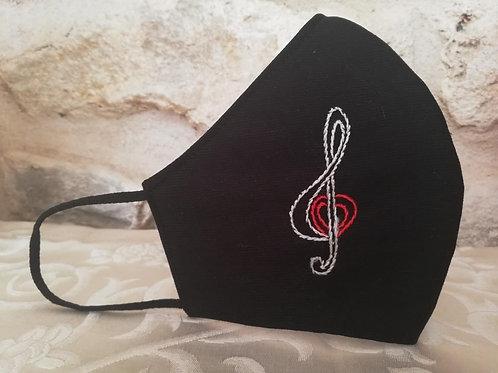 Mascherina Artigianale Musica ricamata a Mano in cottone anallergico