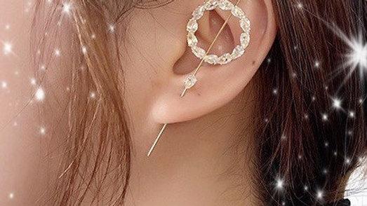 Gold Bling Rhinestone Circle Ear Wrap Hook Earring