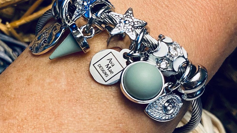 Mint Green Rhinestone One Piece Coil Charm Bracelet
