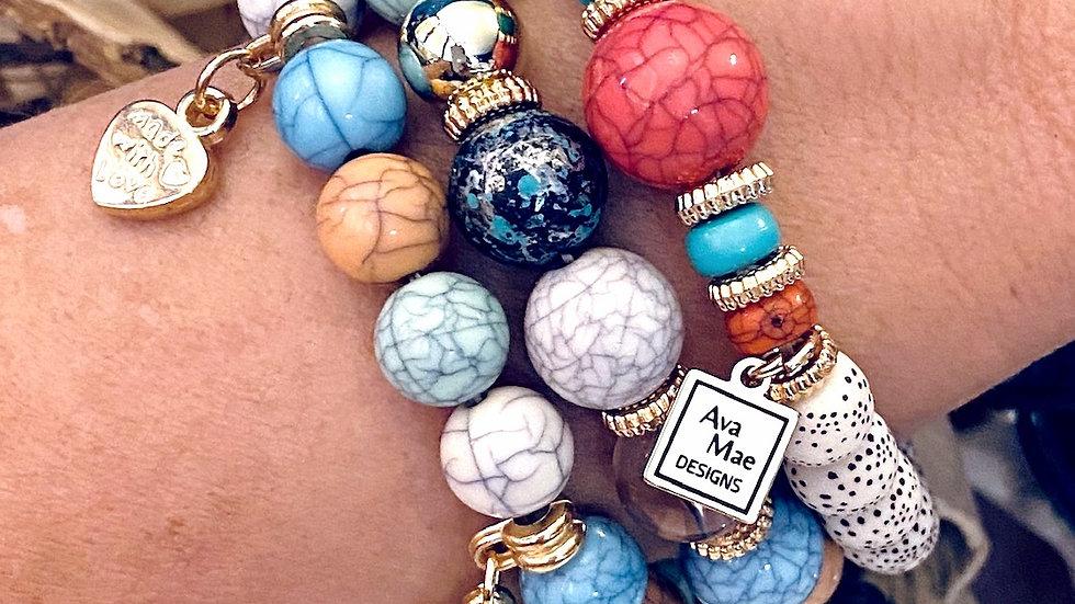 Summer Beach Paradise Beaded Stack Bracelets
