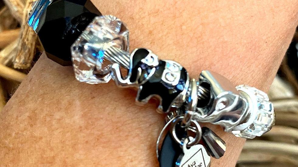 Black & Silver Elephant One Piece Coil Charm Bracelet