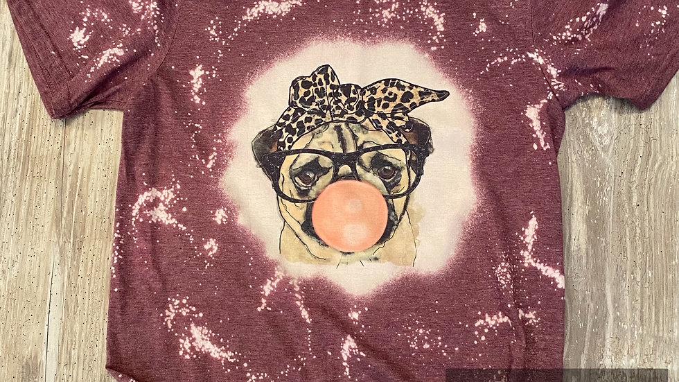 Womens Vintage Pug Bleached Sublimation T-Shirt