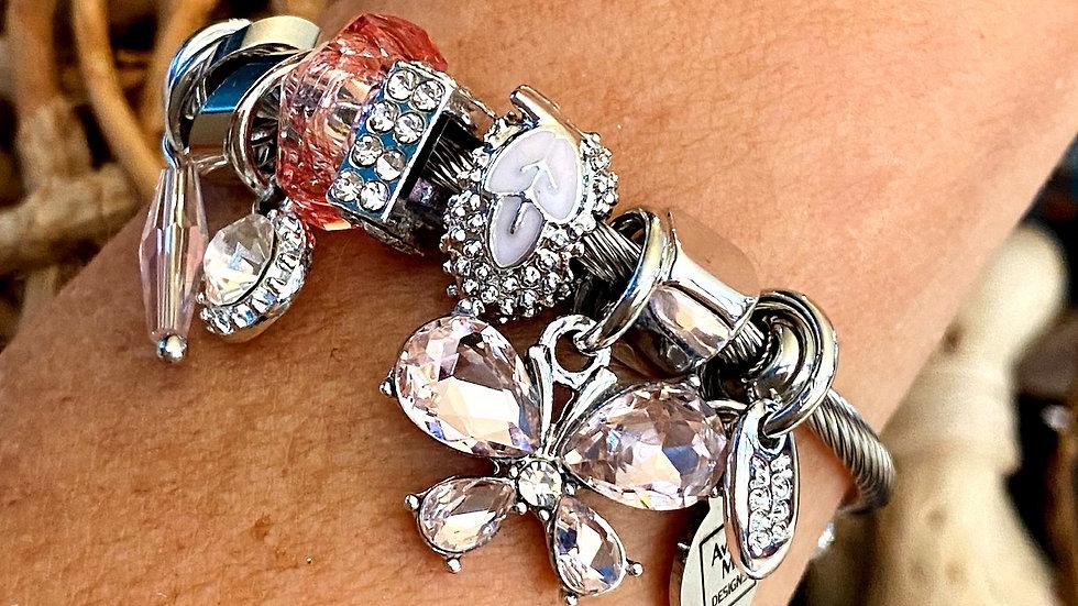 Pink Rhinestone Butterfly One Piece Coil Charm Bracelet