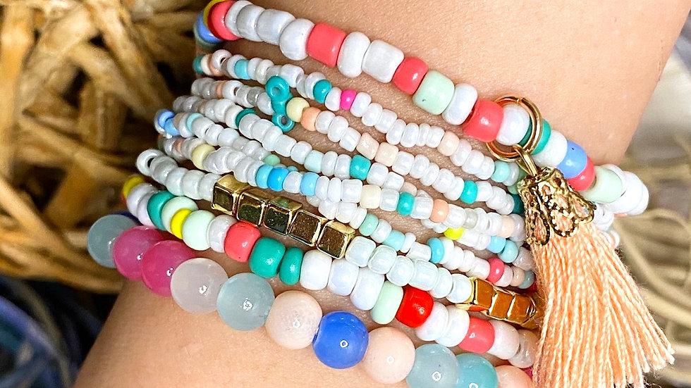 Pastel Multi Strand Seed Bead Bracelets
