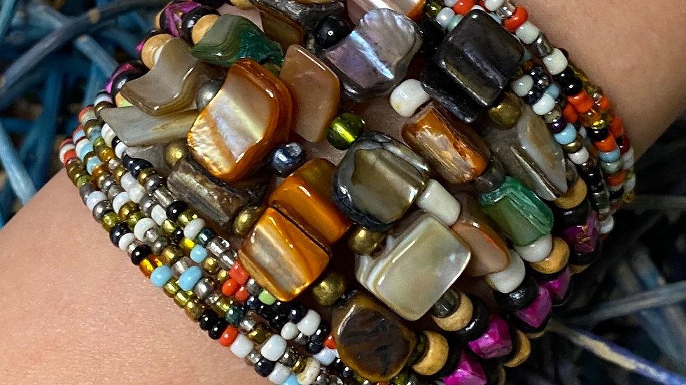 Multi Colored Beaded Cuff Bracelet