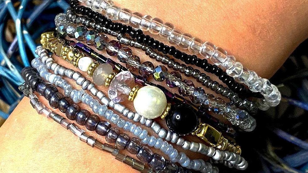 Black & Gray Multi Strand Seed Bead Bracelets