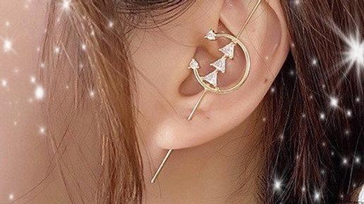 Gold Bling Rhinestone Ear Wrap Hook Earring