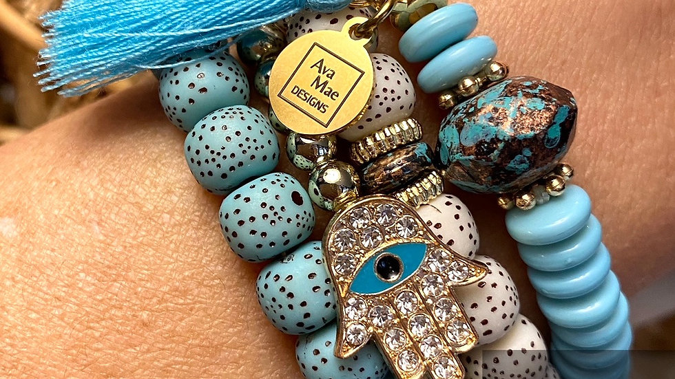 Gold & Turquoise Colored Beaded Stack Bracelets