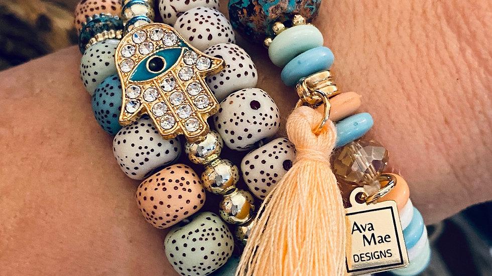 Pastel Beaded Stack Bracelets