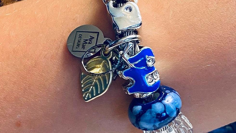 Blue Elephant One Piece Coil Charm Bracelet