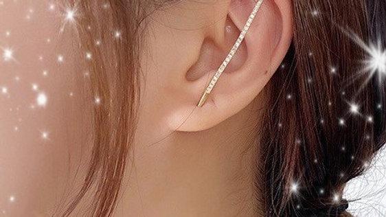 Gold Bling Bar Ear Wrap Hook Earring