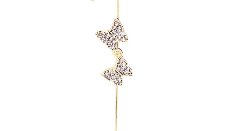 Gold Bling Rhinestone Butterfly Ear Wrap Hook Earring